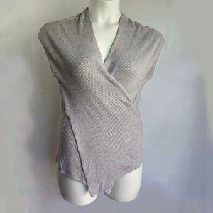 Cato Heather Gray Wrap Sweater